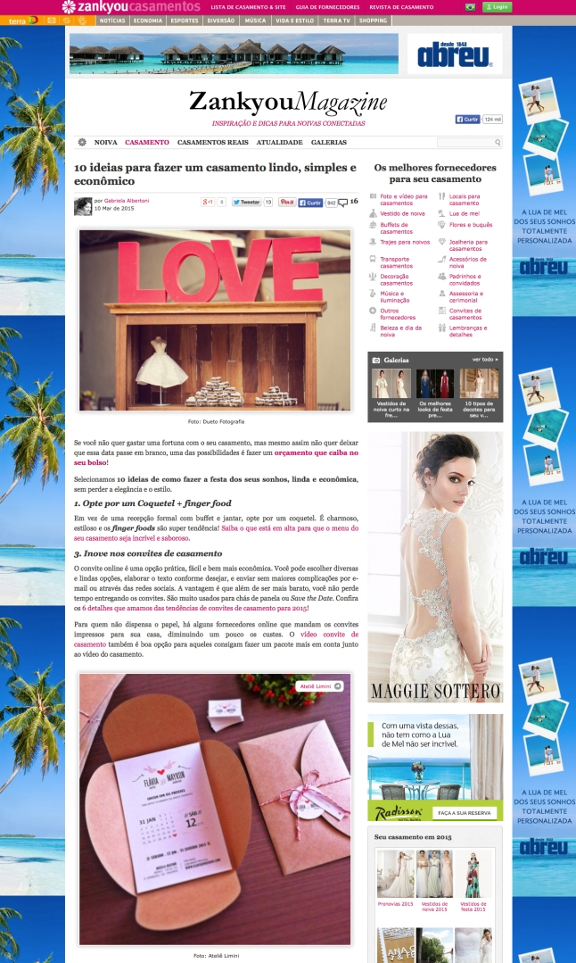 na midia 2015 - zankyou casamentos - terra